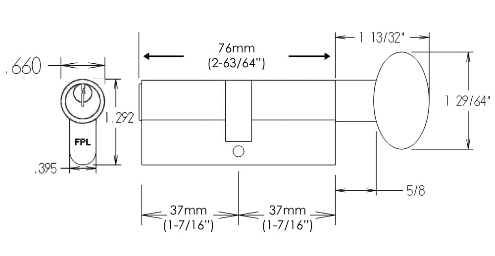 FPL 76mm Euro Profile Cylinder Dimensions