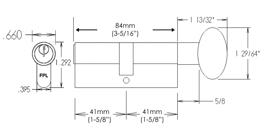 FPL 84mm Euro Profile Cylinder Dimensions