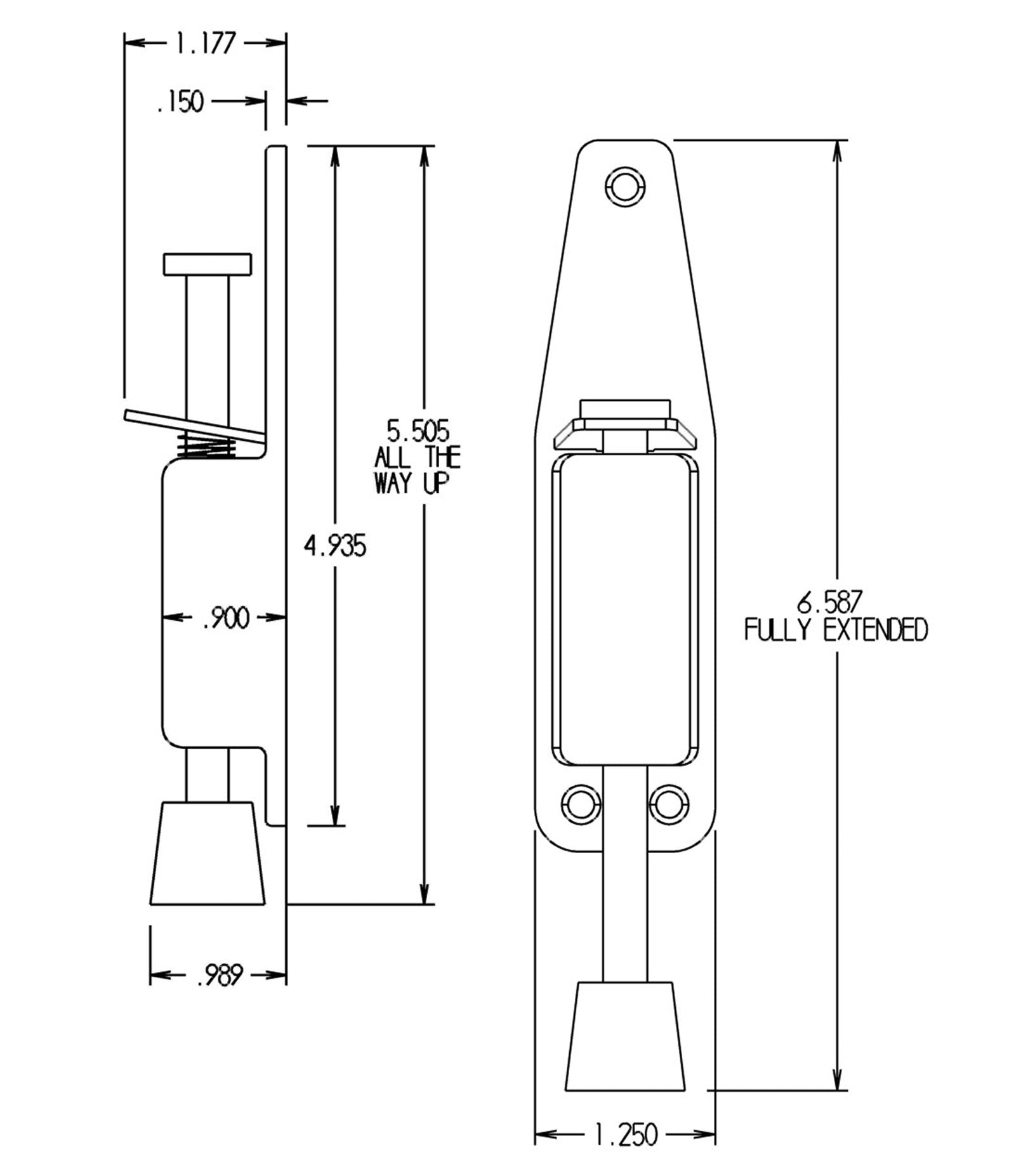 FPL DH5 Spring Loaded Door Stop Specs