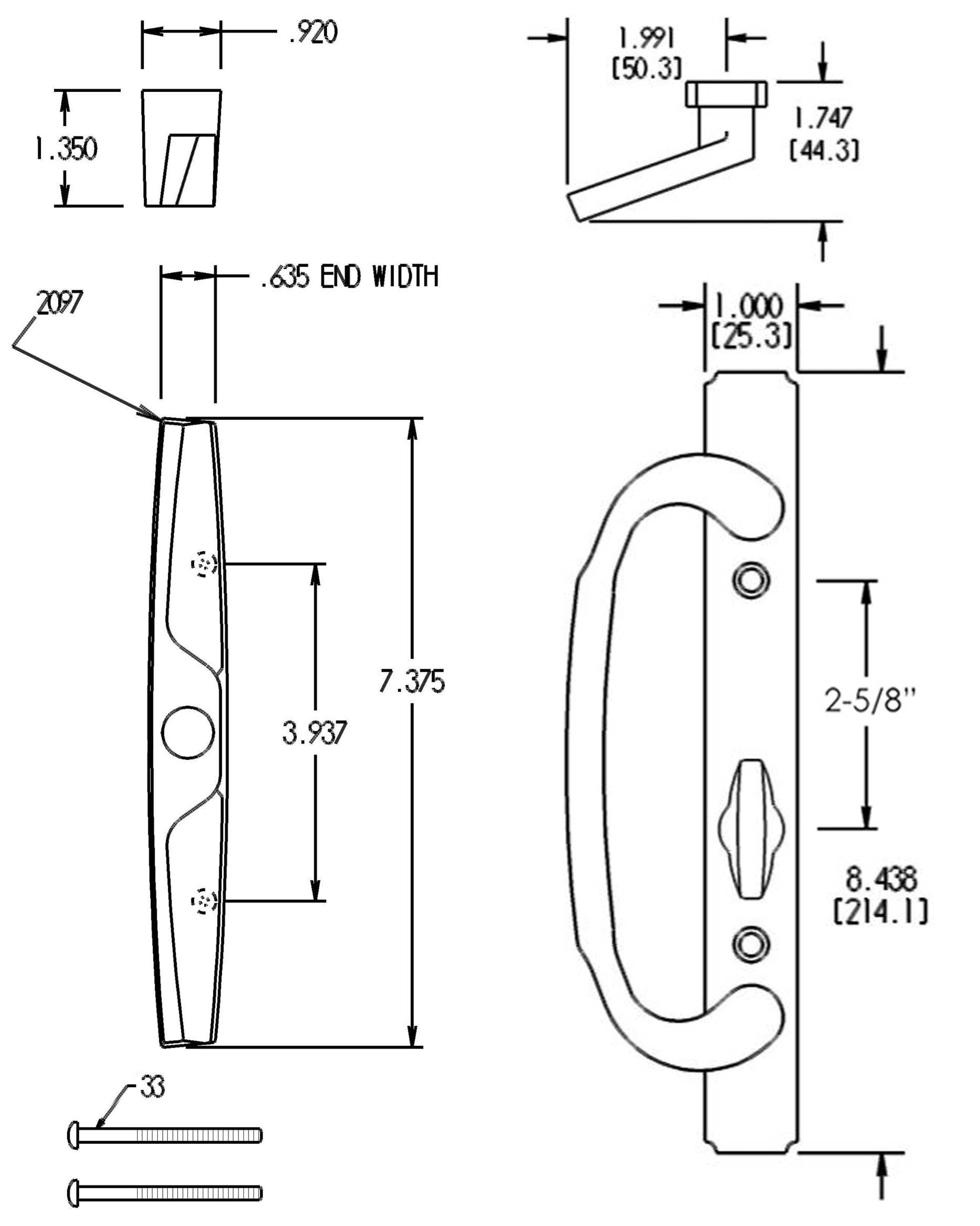 FPL Replacement Sliding Door Hardware Keyed Dimensions
