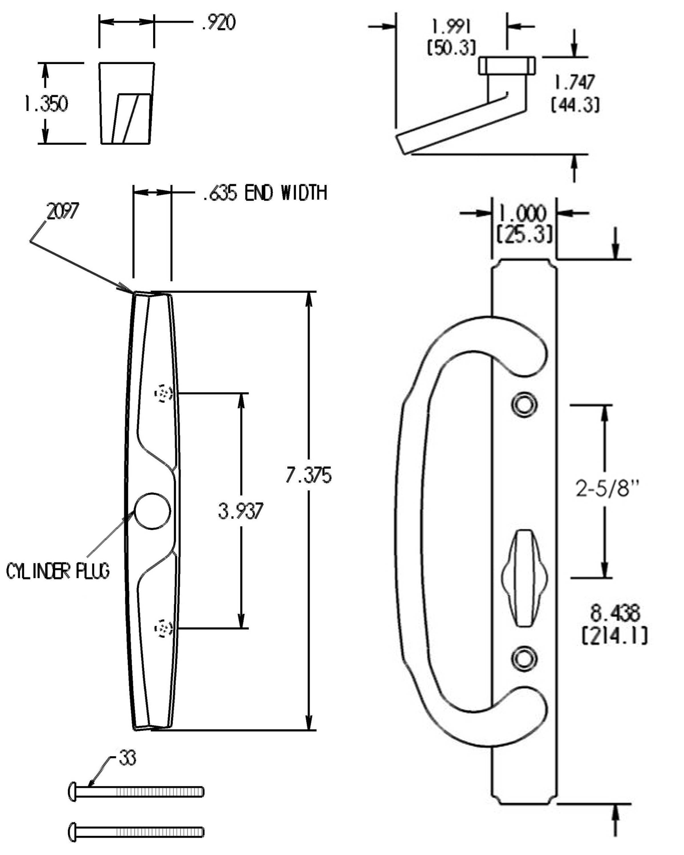 FPL Replacement Sliding Door Handle Non-Keyed Dimensions