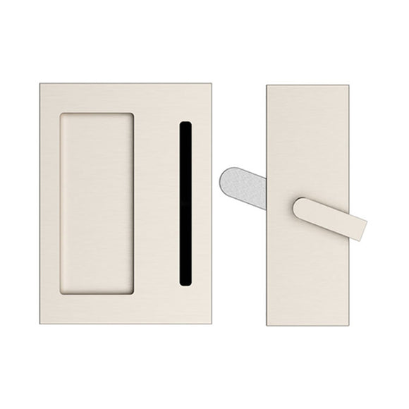 Emtek Modern Rectangular Barn Door Privacy Lock and Flush Pull with Integrated Strike