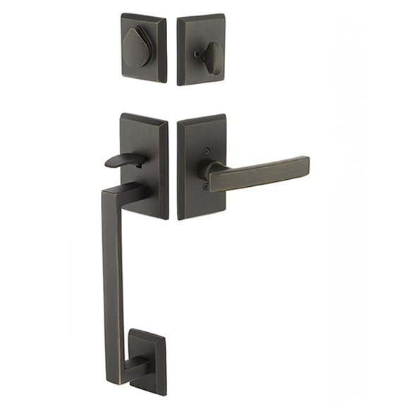 Emtek Rustic Modern Rectangular Sectional Entry Handleset - Single Cylinder