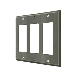 Deltana SWP4740 Triple Rocker Switch Plate - Solid Brass