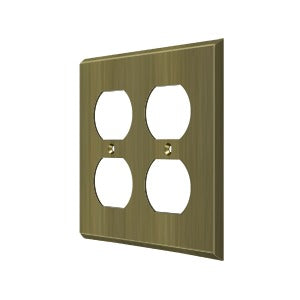 Deltana SWP4771 Quadruple Outlet Plate - Solid Brass