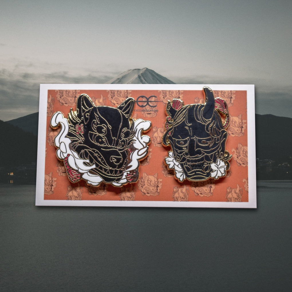 Ancient Masks - Set of two - Hard enamel Pins - Occultcreations