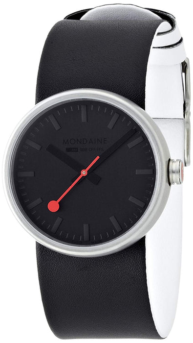 Mondaine 'SBB' Quartz Stainless Steel and Leather Casual Watch, Color:Black (Model: A658.30306.14SBB)