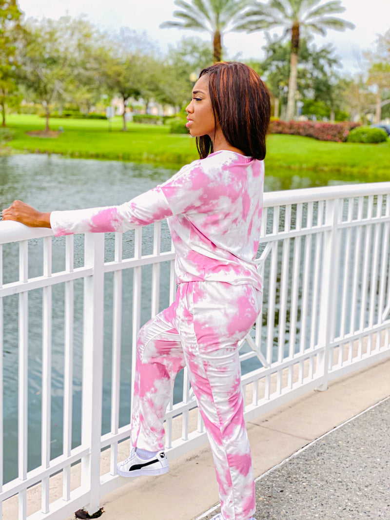 Chill With Me - Tye Dye Long Sleeve Jogger Set. - TheSimKaiShoppe Fashion Women & Children's Clothing, Jewellery & Accessories