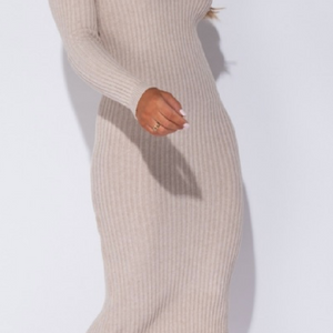 Beige V Neck Long Sleeve Knitted Midi Dress - TheSimKaiShoppe Fashion Women & Children's Clothing, Jewellery & Accessories