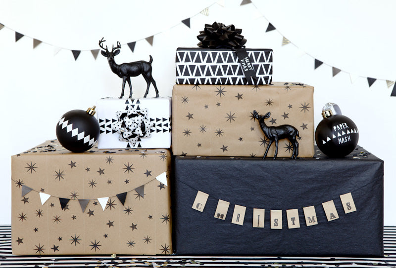 Black and white Christmas gift wrap