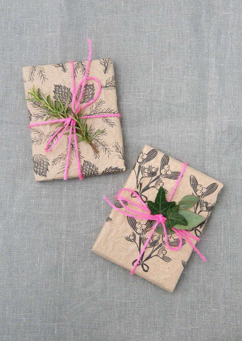 Brown paper stamped Christmas gift wrap