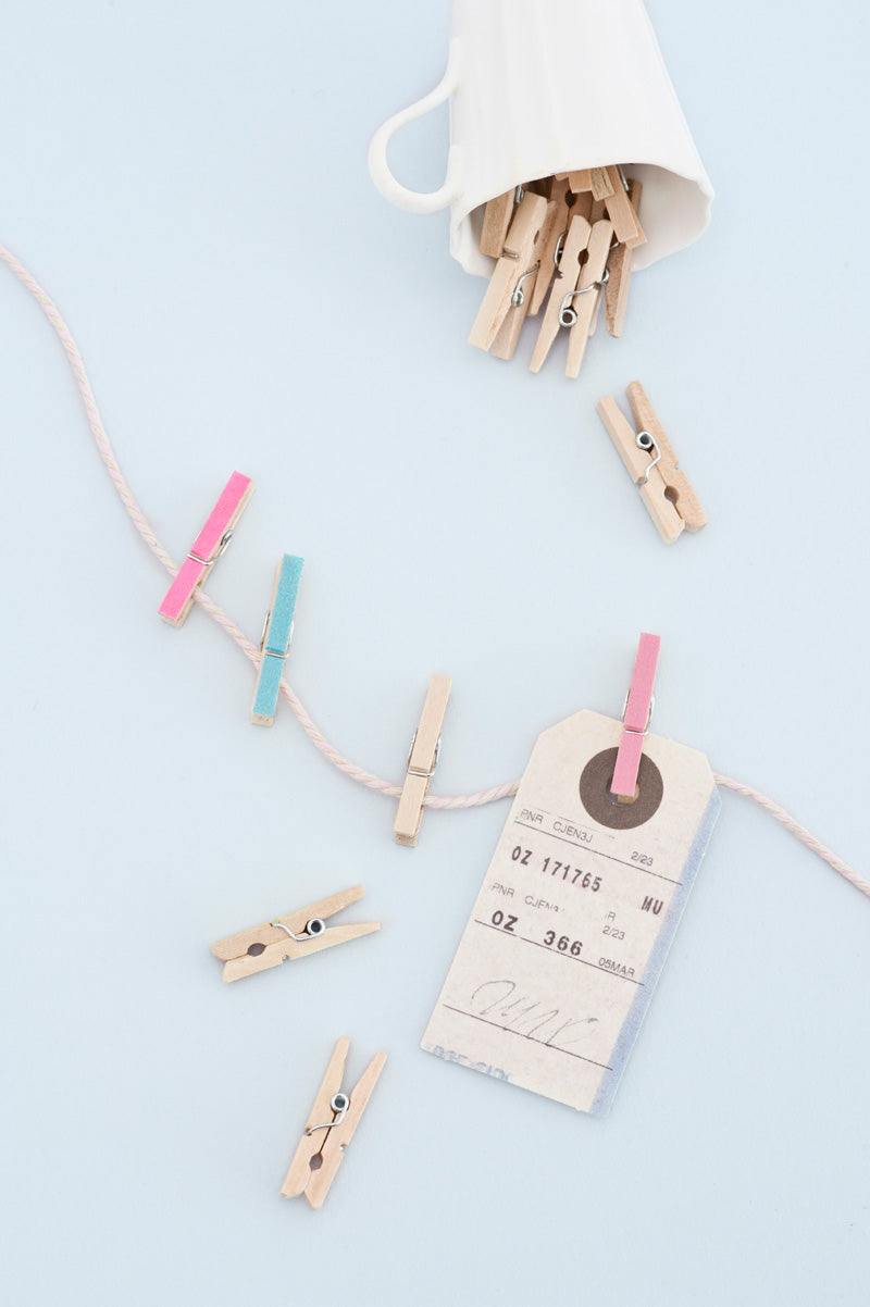Washi taped wooden pegs