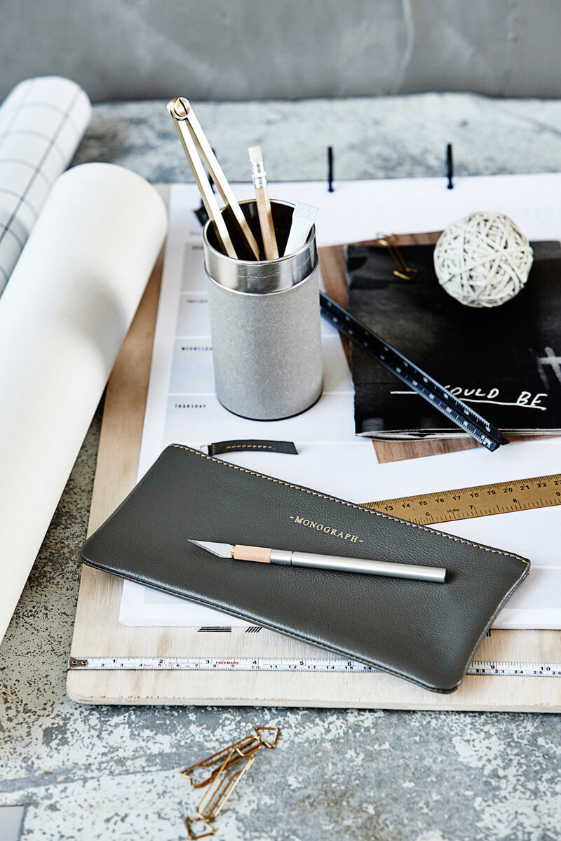 dark grey leather pencil case