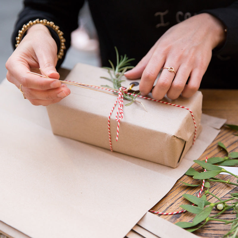 Brown paper and twine gift wrap
