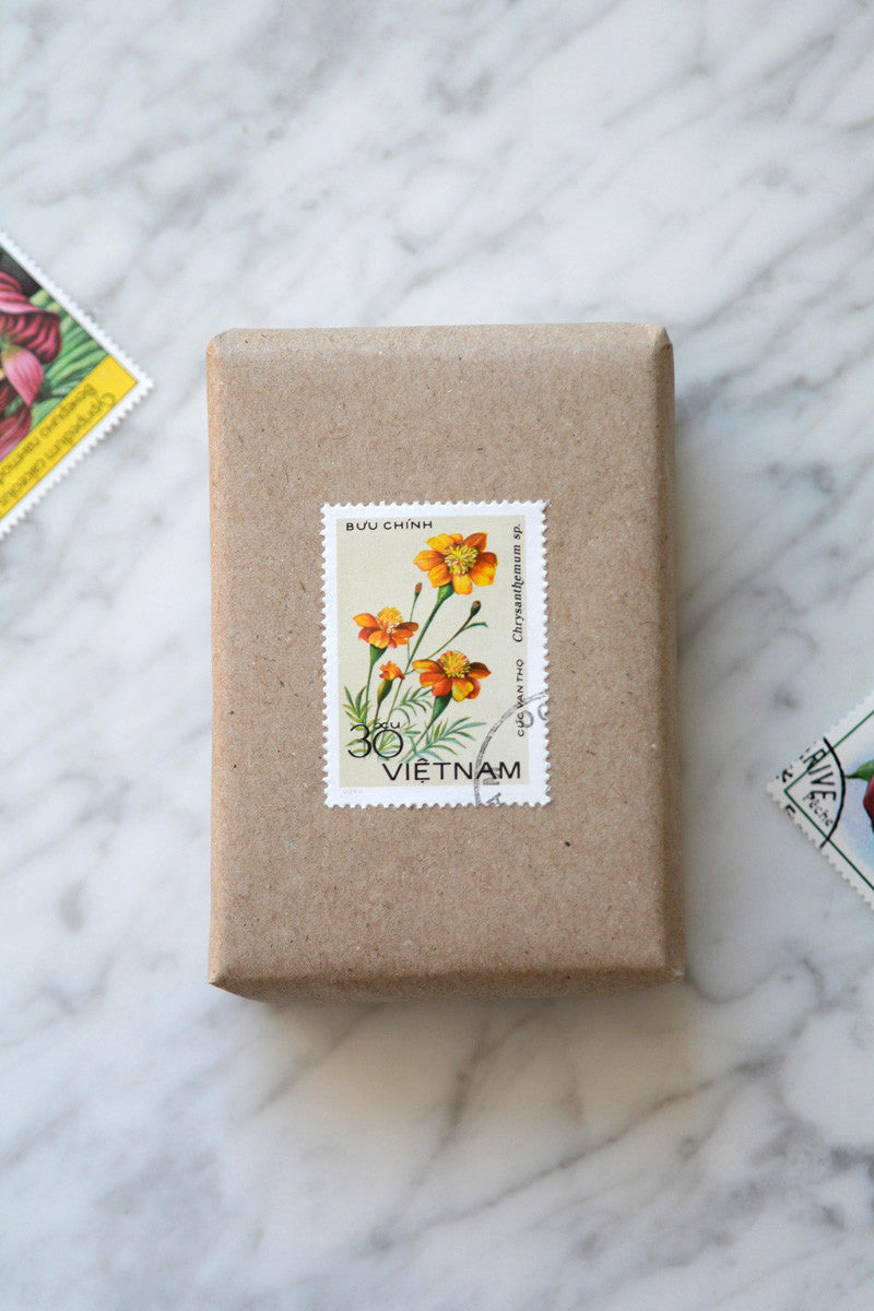 postage stamp gift wrap