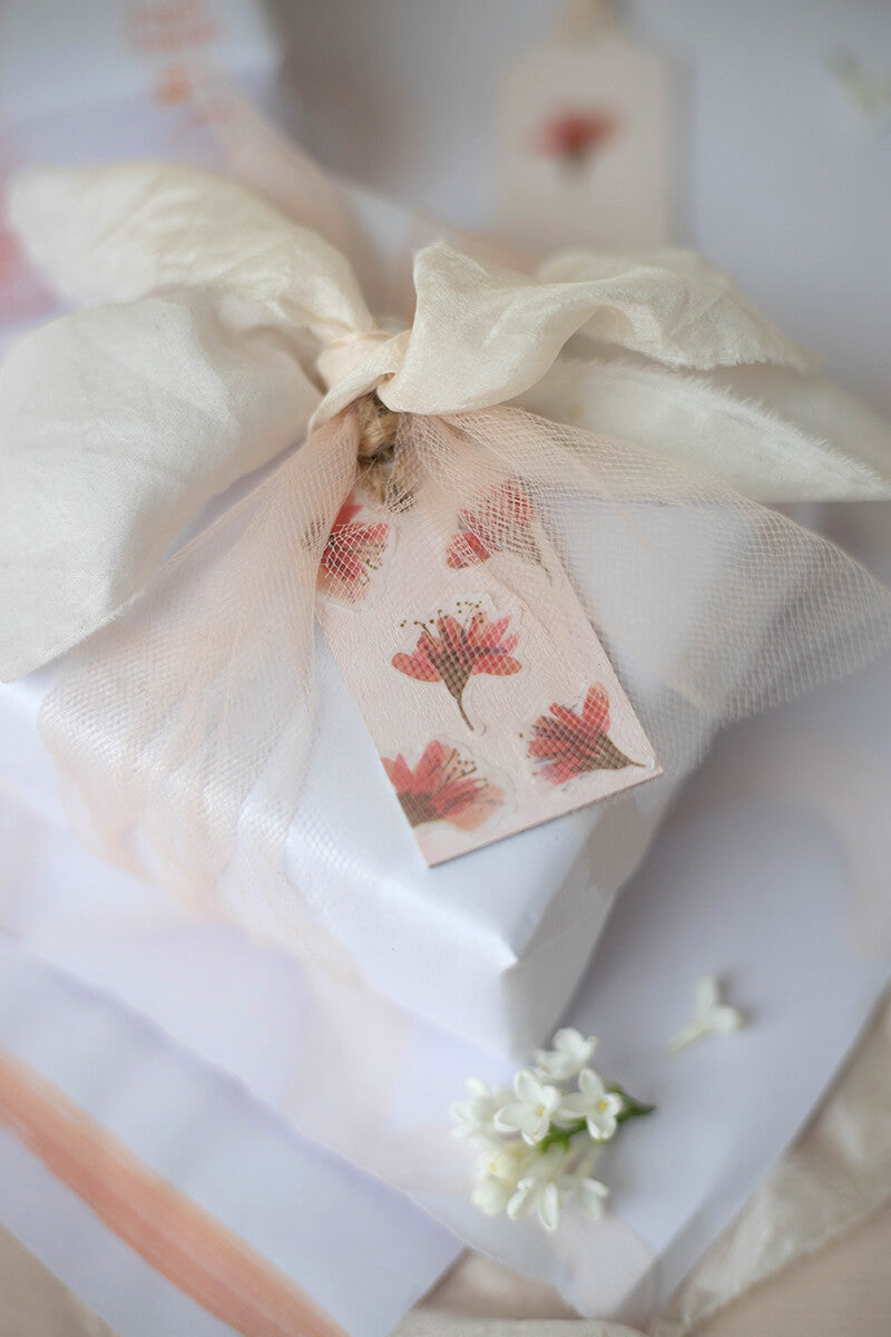 tulle and silk gift wrap