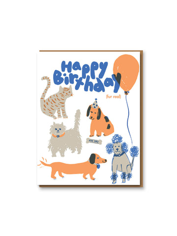 Egg Press happy birthday fur real card