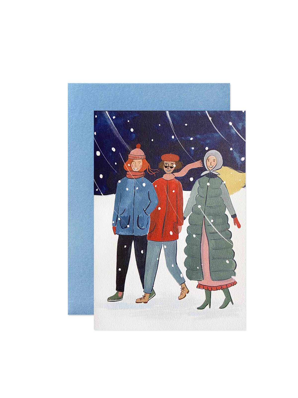 Peggy and Kate wrap up warm card