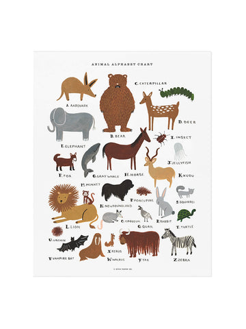 Rifle Paper Co animal alphabet chart