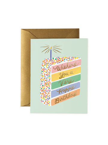 Rifle Paper Co cake slice birthday card