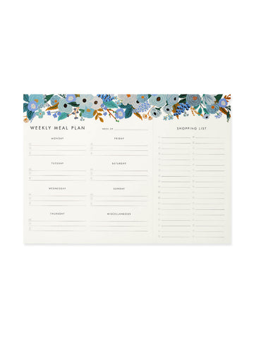 Rifle Paper Co garden party blue meal planner