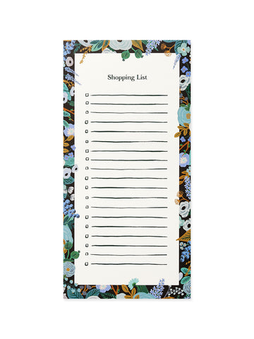 Rifle Paper Co garden party blue shopping list notepad