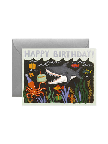 Rifle Paper Co Happy birthday shark card