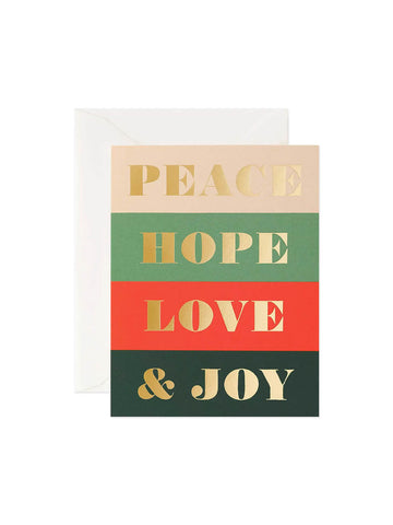 Rifle Paper Co peace hope love and joy card set