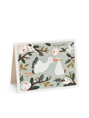 Rifle Paper Co stork congrats card