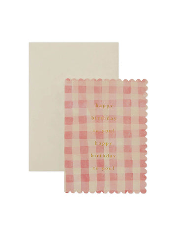 Wanderlust Paper Co pink gingham birthday card