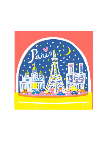 Paris snow globe card The Printed Peanut