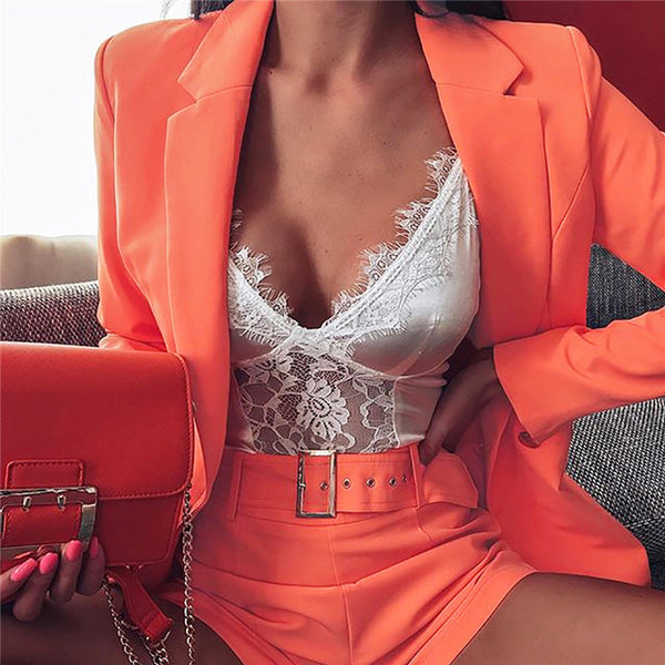 Hugcitar 2019 pink blazer suit top shorts 2 two pieces set with belt autumn winter women streetwear coat jacket sets