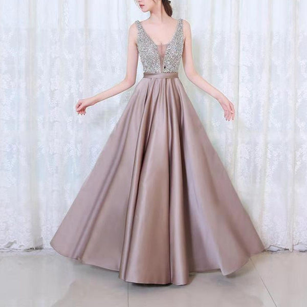 women dress Sexy V-neck Elegant 2019 Natural Sequins Shiny Wedding Bridal Evening gown Party Long birthday dress for women