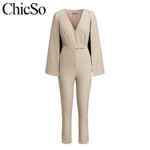 MissyChilli v neck cape blazer jumpsuit women elegant bodycon slim long romper autumn winter sexy office ladies fashion jumpsuit
