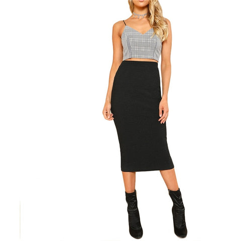 Sheinside 2017 Elastic Waist Pencil Skirt Black Mid Waist Knee Length Plain Skirt Women Work Wear Elegant Autumn Skirt