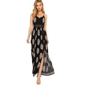 SHEIN Lace Waist Split Front Cami Dress Women V Neck, Spaghetti Strap Sleeveless Maxi Dress 2018 Summer Tribal High Waist Dress