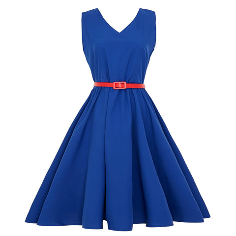 Women Vintage Bodycon Sleeveless Casual Retro Evening Party Prom Swing Dress
