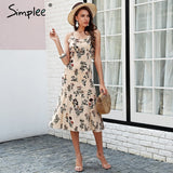 Simplee Strap floral print boho dress Backless ruffle sexy black midi dress women Beach summer dress 2018 vestido femme