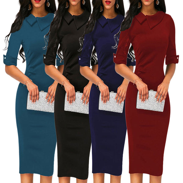 Women Retro Bodycon Below Knee Formal Office Dress Pencil Dress With Back Zipper