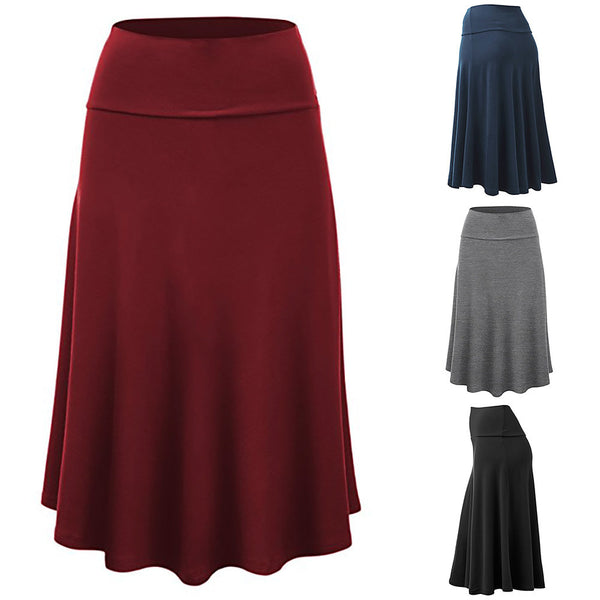 Women Plus Size Solid Flare Hem High Waist Midi Skirt Sexy Uniform Pleated Skirt