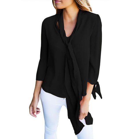 Women Long Sleeve Shirt V Neck Chiffon Shirt Blouse Casual Tops