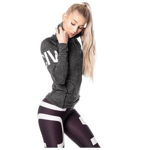 Women Letter Tracksuit Hoodied Sweatshirt Sport Wear Blouse Tops