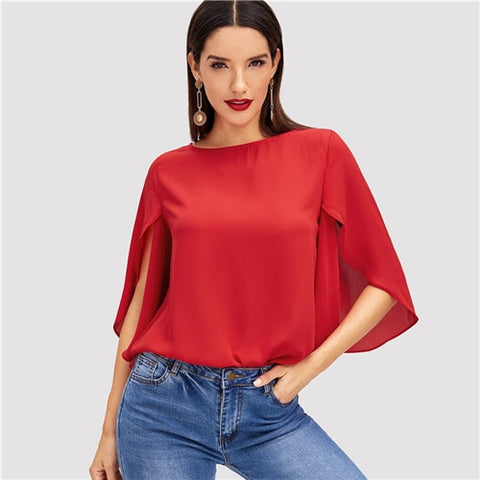 SHEIN Red Elegant Office Lady Butterfly Sleeve Split Trim O-Neck Solid Blouse 2018 Autumn Modern Lady Women Tops And Blouses