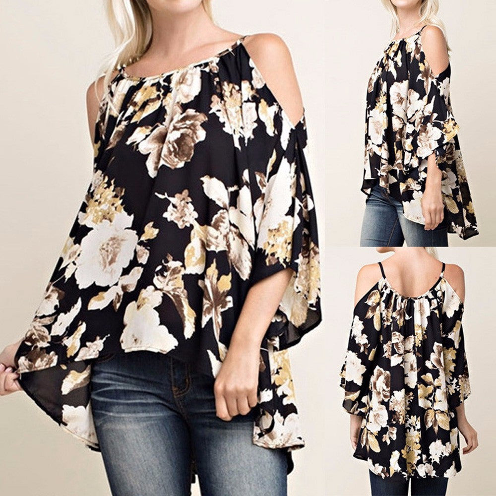 Women Floral Print 3/4 Sleeve Off Shoulder Loose Casual Swing Tops Shirt Blouse