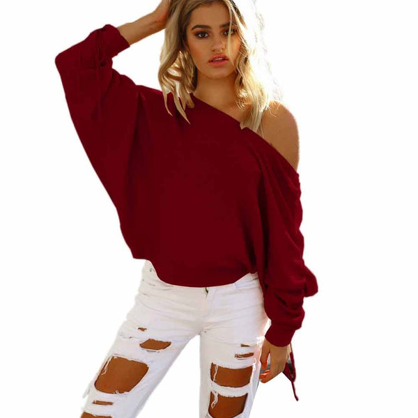 Womens One Shoulder Baggy Ladies Tops Chunky Knitted Oversized Sweater Jumper