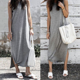 Women Solid Tank Maxi Dress Sleeveless Casual Summer Beach Long Maxi Dress