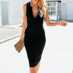 Womens V-Neck Sleeveless Bodycon Mini Dress Fashion Sexy Dress