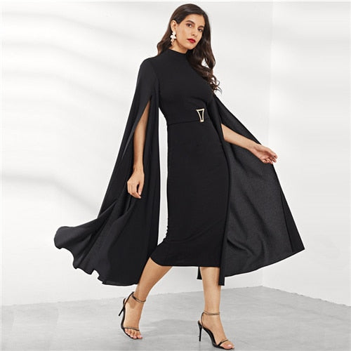 SHEIN Black Exaggerate Split Sleeve Belted Dress Party Bodycon High Waist Plain Pencil Dresses Women Autumn Elegant Dresses