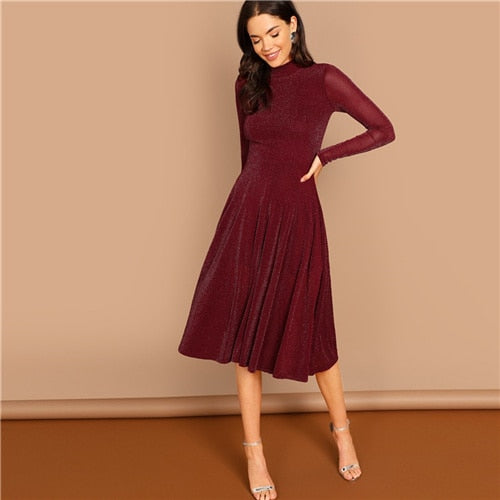 SHEIN Burgundy Going Out Mock Neck Stand Collar Long Sleeve Glitter Fit & Flare A Line Dress Autumn Workwear Women Dresses