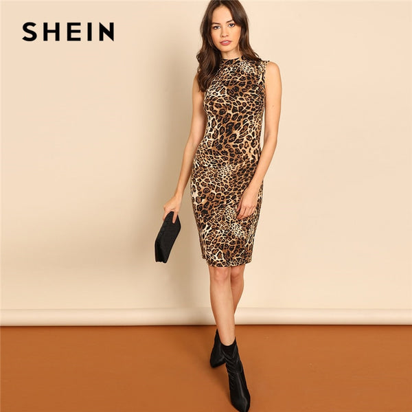 SHEIN Multicolor Modern Lady Elegant Mock-Neck Leopard Print Knee Length Stand Collar Dress Autumn Women Workwear Dresses